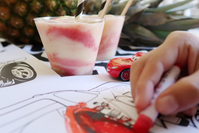 CARS 3 Activity Sheets + Pineapple Strawberry Whip Recipe