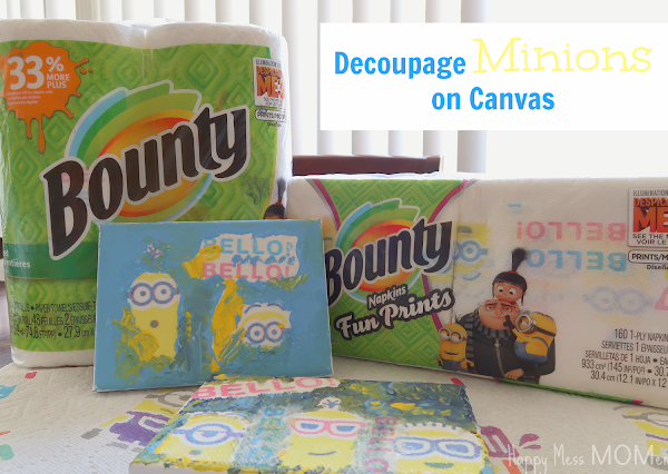 Decoupage MINIONS on Canvas with BOUNTY Despicable Me 3 Prints