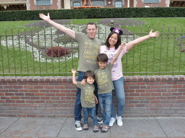 Family picture at Disneyland entrance.