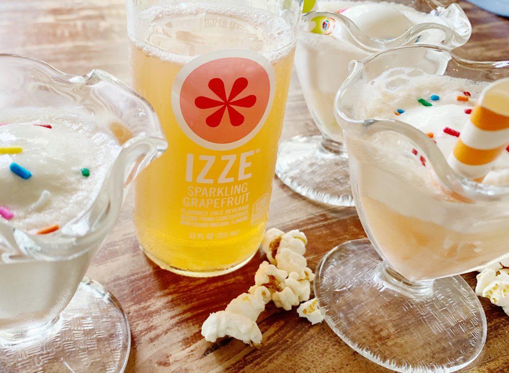 Ice cream float with Izze Sparkling Juice