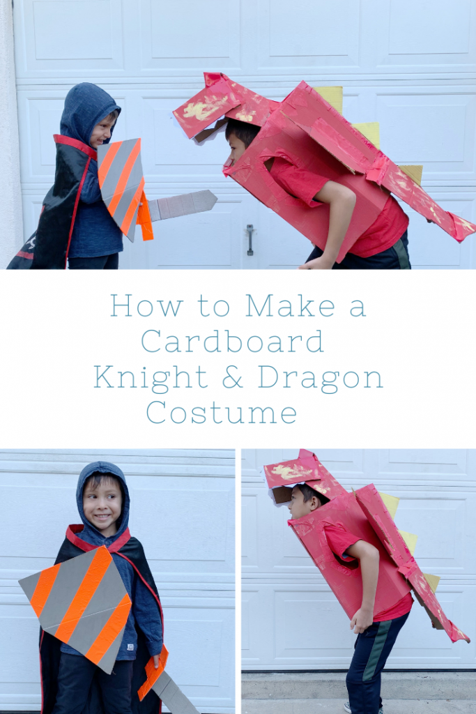 Cardboard Knight and Dragon costume
