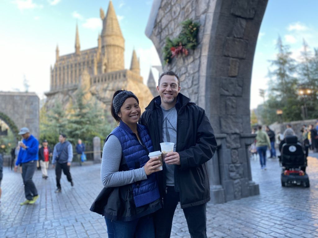 During Butterbeer during the Holidays at Universal Studios Hollywood