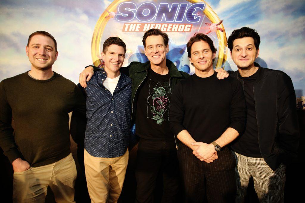 Producer Toby Ascher, Director Jeff Fowler, Jim Carrey, James Marsden and Ben Schwartz