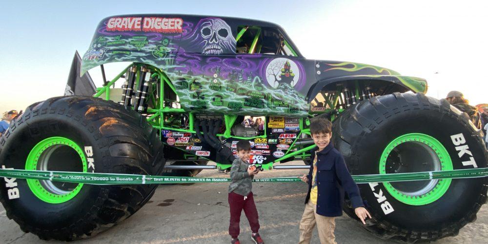 Kids at Monster Jam in Anaheim Stadium