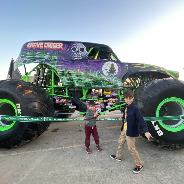 Kids at Monster Jam in Anaheim Stadium
