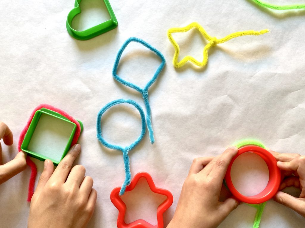 Chenille stems and Playdoh shapes