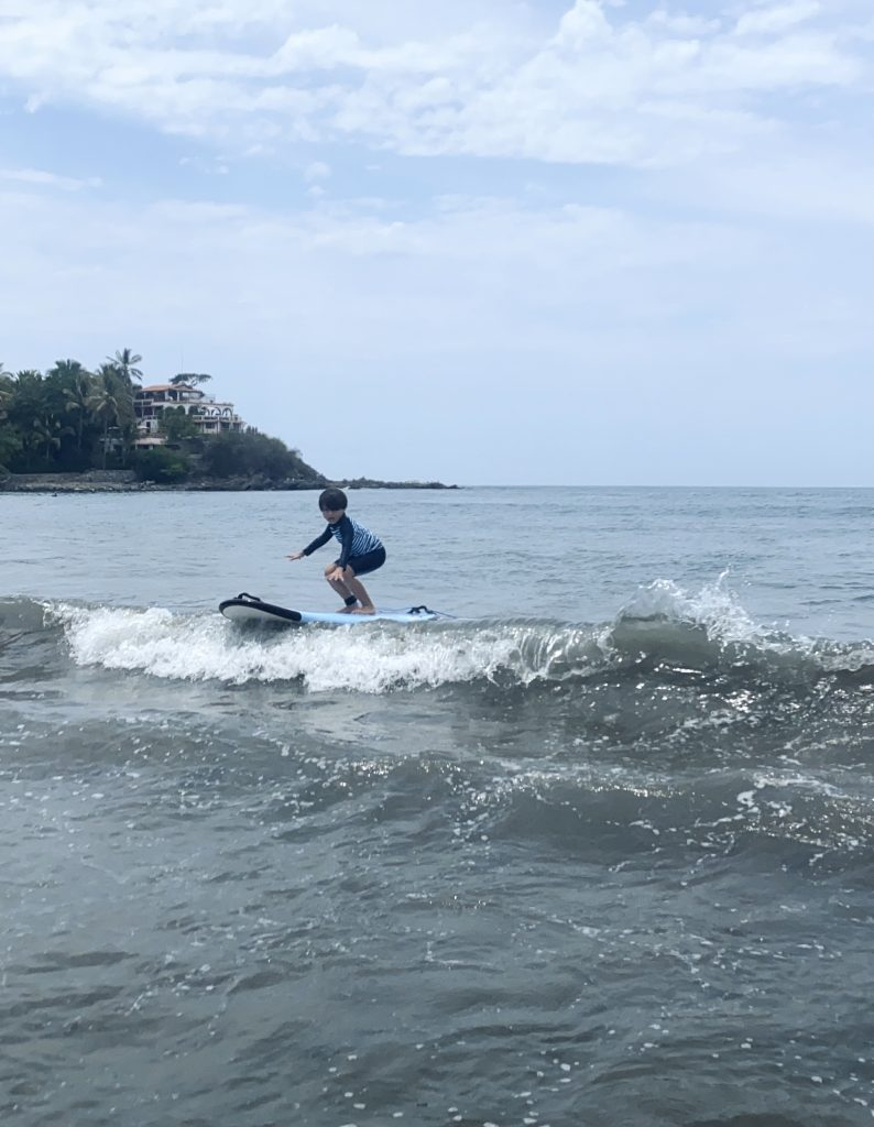 Kids learning how to surf in Sayulita
